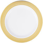 Silver Visions 9 inch White Plastic Plate with Gold Lattice Design - 12/Pack