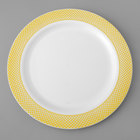 Gold Visions 10 inch White Plastic Plate with Gold Lattice Design - 12/Pack