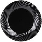 Visions Wave 6 inch Black Plastic Plate - 18/Pack