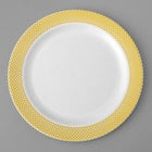 Gold Visions 7 inch White Plastic Plate with Gold Lattice Design - 15/Pack