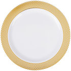 Silver Visions 7 inch White Plastic Plate with Gold Lattice Design - 15/Pack