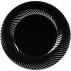Visions Wave 9 inch Black Plastic Plate - 18/Pack