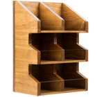 Cal-Mil 2054-99 Madera Rustic Pine 3 Tier, 6 Bin Condiment Display with Clear Bin Face - 11 inch x 7 inch x 16 inch