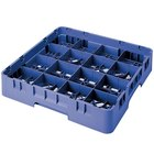 "Cambro 16S738168 Camrack 7 3/4"" High Customizable Blue 16 Compartment Glass Rack"
