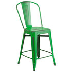 Flash Furniture ET-3534-24-GN-GG Distressed Green Metal Counter Height Stool with Vertical Slat Back and Drain Hole Seat
