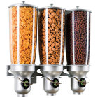 "Cal-Mil 3518-3-39FF Platinum Wall Mount Free Flow 3 Cylinder Cereal Dispenser - 18 1/2"" x 6 3/4"" x 19 3/4"""