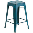 Flash Furniture ET-BT3503-24-KB-GG Distressed Kelly Blue Stackable Metal Counter Height Stool with Drain Hole Seat