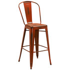 Flash Furniture ET-3534-30-OR-GG Distressed Orange Metal Bar Height Stool with Vertical Slat Back and Drain Hole Seat