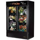 True GDM-49FC-LD Black Glass Door 2 Section Floral Case