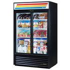 "True GDM-41-HC-LD 47"" Black Refrigerated Sliding Glass Door Merchandiser with LED Lighting"