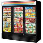 True GDM-72F-HC~TSL01 78 inch Black Glass Door Merchandiser Freezer with LED Lighting