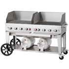 Crown Verity CCB-60WGP 60 inch Outdoor Club Grill with 2 Horizontal Propane Tanks and Wind Guard Package
