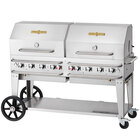 Crown Verity RCB-60RDP-SI 60 inch Pro Series Outdoor Rental Grill with Single Gas Connection and Roll Dome Package
