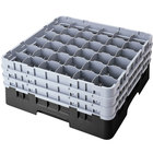 "Cambro 36S958110 Black Camrack Customizable 36 Compartment 10 1/8"" Glass Rack"