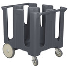 Cambro DC1225191 Granite Gray Poker Chip Dish Dolly / Caddy with Vinyl Cover - 4 Column