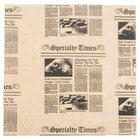 American Metalcraft PPCN1010 10 inch x 10 inch Natural Newspaper Print Deli Sandwich Wrap Paper - 1000/Case