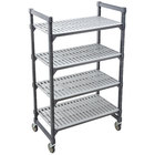 Cambro EMU216070V4580 Camshelving® Elements Mobile Shelving Unit with 4 Vented Shelves - 21 inch x 60 inch x 70 inch