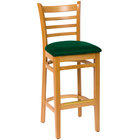 BFM Seating LWB101NTGNV Burlington Natural Colored Beechwood Bar Height Chair with 2 inch Green Vinyl Seat