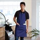 Choice Royal Blue Full Length Bib Apron with Pockets - 34 inch x 32 inchW