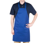 Choice Royal Blue Full Length Bib Apron with Pockets - 34