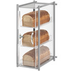 Cal-Mil 1155-74 One by One Three Tier Silver Bread Display Case - 9 1/2 inch x 14 1/4 inch x 19 3/4 inch