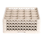 Vollrath TR13BBBB Traex® Low Profile Full-Size Beige 25-Compartment 6 3/4 inch Glass Rack with 4 Extenders