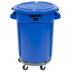 Rubbermaid BRUTE 32 Gallon Blue Round Trash Can with Lid and Dolly