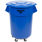 Rubbermaid BRUTE 55 Gallon Blue Round Trash Can with Lid and Dolly