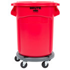 Rubbermaid BRUTE 20 Gallon Red Round Trash Can with Lid and Dolly