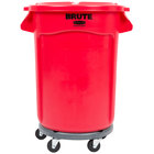 Rubbermaid BRUTE 32 Gallon Red Round Trash Can with Lid and Dolly