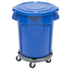 Rubbermaid BRUTE 20 Gallon Blue Round Trash Can with Lid and Dolly
