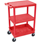Luxor RDSTC221RD Red 3 Shelf Utility Cart