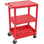 Luxor / H. Wilson RDSTC221RD Red 3 Shelf Utility Cart - 1 Tub Shelf, 24 inch x 18 inch x 37 1/2 inch