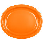 Creative Converting 433282 12 inch x 10 inch Sunkissed Orange Oval Paper Platter - 8/Pack
