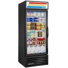 True GDM-23-HC~TSL01 BK LH Black One Section Glass Door Refrigerated Merchandiser with LED Lighting and Left-Hinged Door