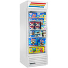 True GDM-23F-HC~TSL01 WH LH White One Section Glass Door Merchandiser Freezer with LED Lighting and Left-Hinged Door