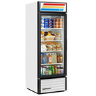 True GDM-23-HC-LD WH LH White One Section Glass Door Refrigerated Merchandiser with LED Lighting and Left-Hinged Door