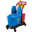 Rubbermaid FG777700BLUE WaveBrake® 35 Qt. Blue Mopping Trolley with Down Press Wringer