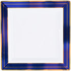 Fineline 5507-WHBG Silver Splendor 7 1/4 inch Square White Plastic Plate with Blue Rim and Gold Bands - 120/Case