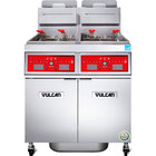 Vulcan 2VK65CF-2 PowerFry5 Liquid Propane 130-140 lb. 2 Unit Floor Fryer System with Computer Controls and KleenScreen Filtration - 160,000 BTU