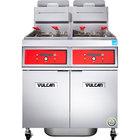 Vulcan 2VK65DF-1 PowerFry5 Natural Gas 130-140 lb. 2 Unit Floor Fryer System with Digital Controls and KleenScreen Filtration - 160,000 BTU