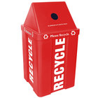 IRP 48 Gallon Red Stackable Recycling Bin with V-Shaped Lid