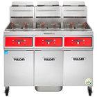 Vulcan 3VK65DF-1 PowerFry5 Natural Gas 195-210 lb. 3 Unit Floor Fryer System with Digital Controls and KleenScreen Filtration - 240,000 BTU