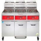 Vulcan 3TR45DF-2 PowerFry3 Liquid Propane 135-150 lb. 3 Unit Floor Fryer System with Digital Controls and KleenScreen Filtration - 210,000 BTU