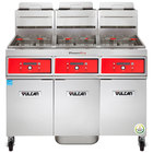 Vulcan 3TR45DF-1 PowerFry3 Natural Gas 135-150 lb. 3 Unit Floor Fryer System with Digital Controls and KleenScreen Filtration - 210,000 BTU