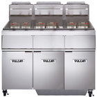 Vulcan 3GR45MF-2 Liquid Propane 135-150 lb. 3 Unit Floor Fryer System with Millivolt Controls and KleenScreen Filtration - 360,000 BTU