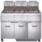 Vulcan 3GR45MF-1 Natural Gas 135-150 lb. 3 Unit Floor Fryer System with Millivolt Controls and KleenScreen Filtration - 360,000 BTU