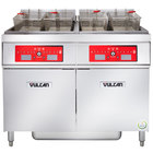 Vulcan 2ER50CF-1 100 lb. 2 Unit Electric Floor Fryer System with Computer Controls and KleenScreen Filtration - 208V, 3 Phase, 34 kW