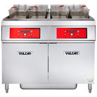 Vulcan 2ER50DF-2 100 lb. 2 Unit Electric Floor Fryer System with Digital Controls and KleenScreen Filtration - 480V, 3 Phase, 34 kW