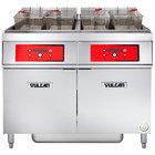 Vulcan 2ER85DF-2 170 lb. 2 Unit Electric Floor Fryer System with Digital Controls and KleenScreen Filtration - 480V, 3 Phase, 48 kW